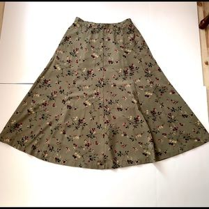 Olive Red Floral Poly Full Midi Skirt Elastic Zips